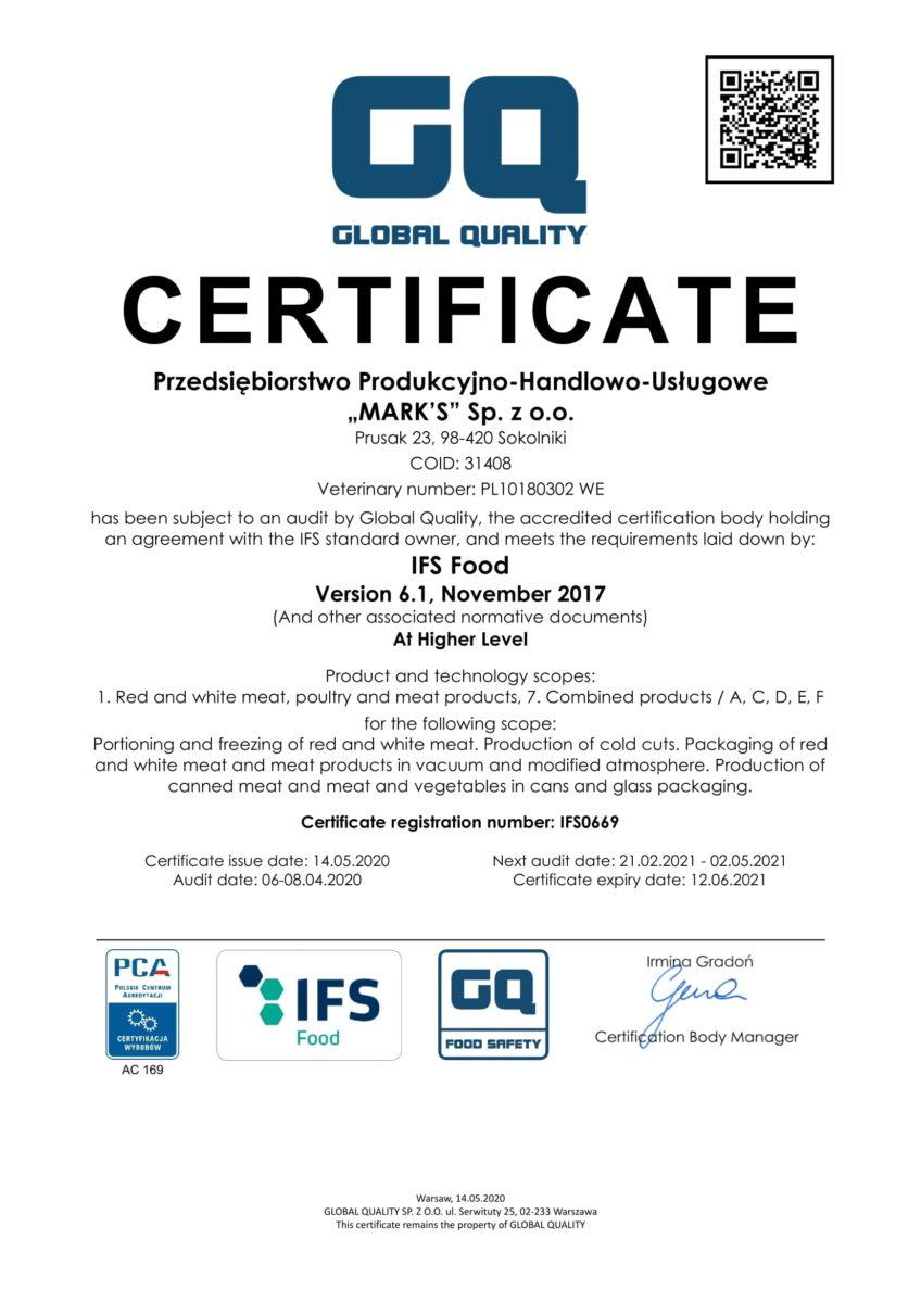 PPHU Marks Certificate IFS EN_2020-1