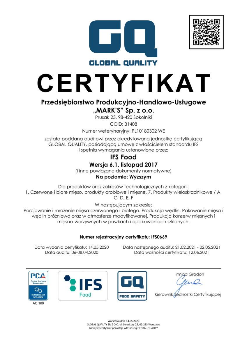 PPHU Marks Certyfikat IFS 2020-1